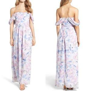 Plum Pretty Sugar Floral Off Shoulder Gown